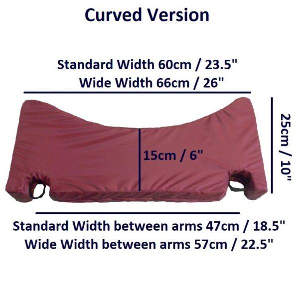 Arm Wheelchair Lap Cushion – Curved dims