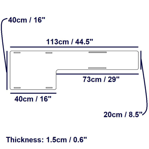 Extended Leg Board – dimensions